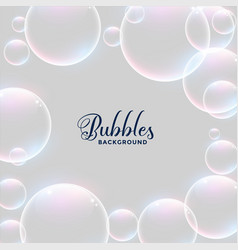 realistic water bubbles background design vector image