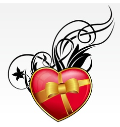 red heart with bow and ribbon for valentines day vector image