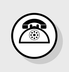 retro telephone sign flat black icon in vector image