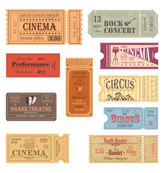 retro tickets or old paper coupons for show vector image