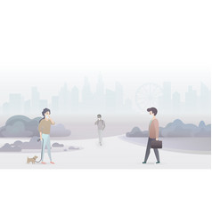 sad people suffer from air pollution and wear vector image