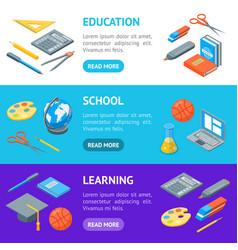 school equipments and tools banner horizontal set vector image