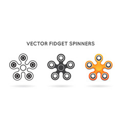 set 3 hand fidget spinners isolated vector image