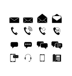 set contacts envelopes icons vector image