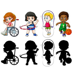set kids in color and silhoueete vector image