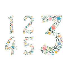 set of floral numerals painting effect vector image