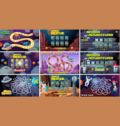 Set space themed board games vector