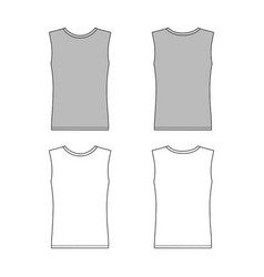 sleeveless t-shirt outlined template front back vector image