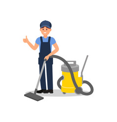 smiling man with vacuum cleaner showing thumb up vector image