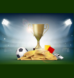 Soccer ball with cup and golden coins vector