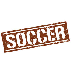 Soccer square grunge stamp vector