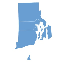 State Map of Rhode Island by counties vector image