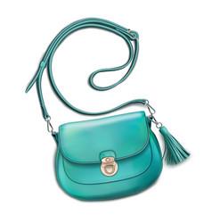 Stylish womens mint handbag vector