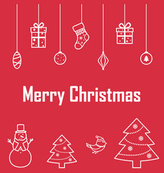 The inscription of merry christmas on a red vector