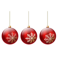 three red christmas ball vector image