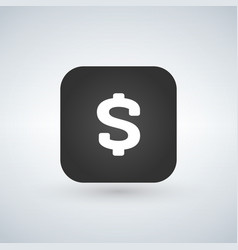 us dollar icon on black application button vector image