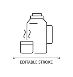 Vacuum flask linear icon vector