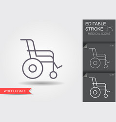 wheelchair linear medical symbols with editable vector image