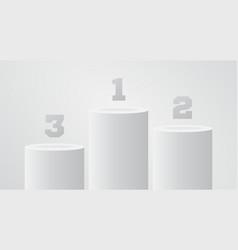 white winner pedestal round pillar stand scene vector image