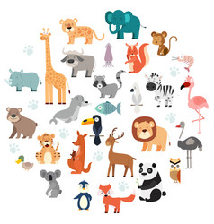 wildlife animals cartoon set vector image