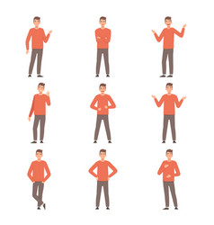 Young guy is standing in different poses vector