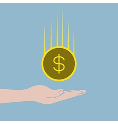 Hand holding money coin falling vector