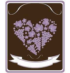 Label for a bottle of wine with grapes vector image vector image