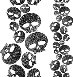 Skulls seamless pattern horror and hard rock theme vector image vector image
