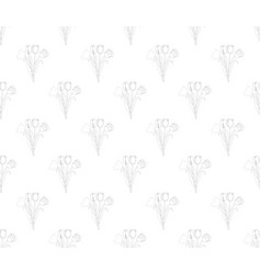 tulip seamless on white background vector image vector image