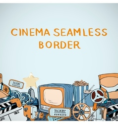 Cinema sketch seamless border vector image vector image