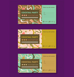 cocktail party horizontal invitation templates vector image