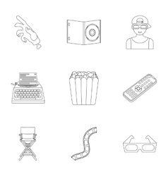 Films and cinema set icons in outline style Big vector image vector image