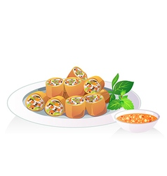 fried spring roll vector image