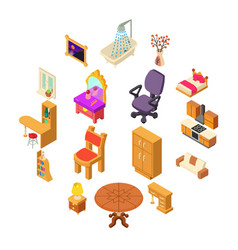 home interior icons set isometric style vector image