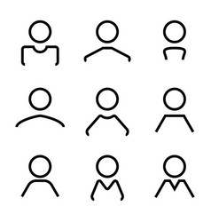 abstract avatar human user flat line icons set vector image vector image