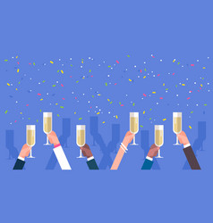 group of business man hands holding champagne vector image