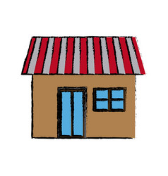 House exterior door window brick residential icon vector