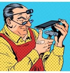 Repairman phones smartphone humour mechanic vector