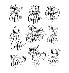 set of black and white hand written lettering vector image vector image
