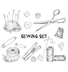 Sewing sketch set vector image vector image