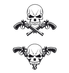 skull with revolvers vector image vector image