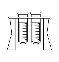 test tube rack medicine laboratory thin line vector image vector image