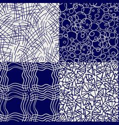 ballpoint drawing seamless patterns set vector image vector image