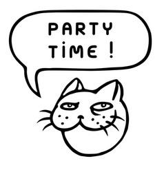 Party time cartoon cat head speech bubble vector
