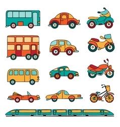 set of cartoon land transport vector image vector image