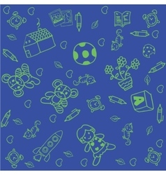 Toy doodle art for kids with blue backgrounds vector image vector image