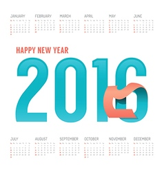 2016 Calendar colorful happy new year design vector image