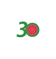30 year anniversary fruit number template design vector