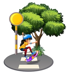 A street with a female skateboarder vector