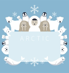 Arctic Frame Animals People vector image